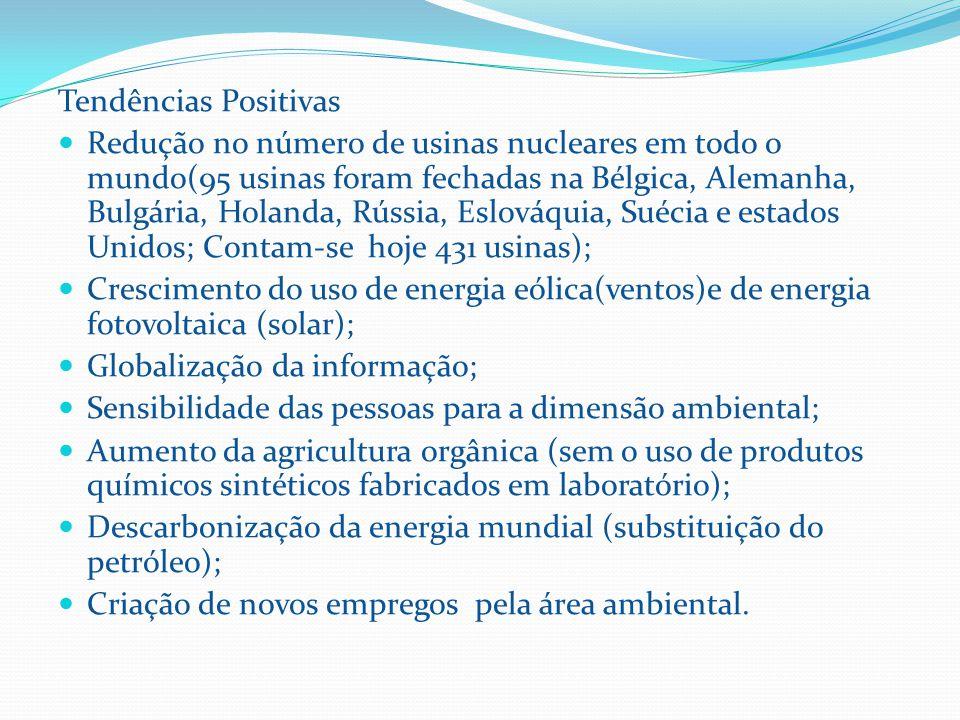 Tendências Positivas Redução no número de usinas nucleares em todo o mundo(95 usinas foram fechadas na Bélgica, Alemanha, Bulgária, Holanda, Rússia, Eslováquia, Suécia e estados Unidos; Contam-se hoje 431 usinas); Crescimento do uso de energia eólica(ventos)e de energia fotovoltaica (solar); Globalização da informação; Sensibilidade das pessoas para a dimensão ambiental; Aumento da agricultura orgânica (sem o uso de produtos químicos sintéticos fabricados em laboratório); Descarbonização da energia mundial (substituição do petróleo); Criação de novos empregos pela área ambiental.