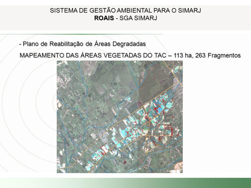 SISTEMA DE GESTÃO AMBIENTAL PARA O SIMARJ ROAIS - SGA SIMARJ - Plano de Reabilitação de Áreas Degradadas - Plano de Reabilitação de Áreas Degradadas M