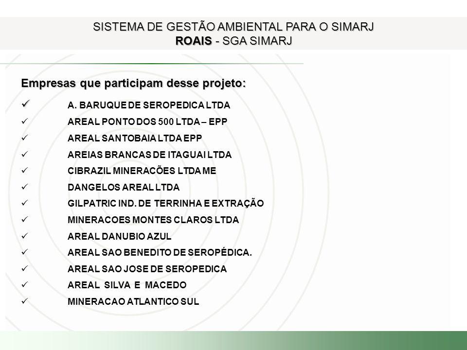 Empresas que participam desse projeto: A. BARUQUE DE SEROPEDICA LTDA AREAL PONTO DOS 500 LTDA – EPP AREAL SANTOBAIA LTDA EPP AREIAS BRANCAS DE ITAGUAI