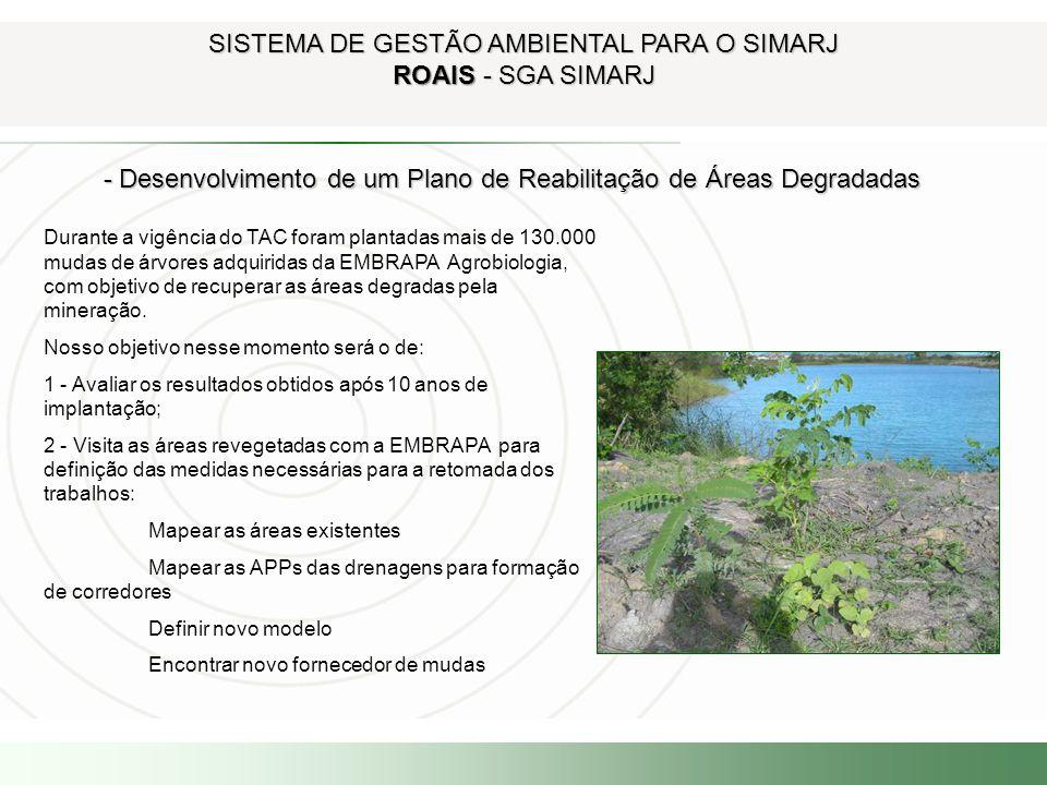SISTEMA DE GESTÃO AMBIENTAL PARA O SIMARJ ROAIS - SGA SIMARJ - Desenvolvimento de um Plano de Reabilitação de Áreas Degradadas - Desenvolvimento de um