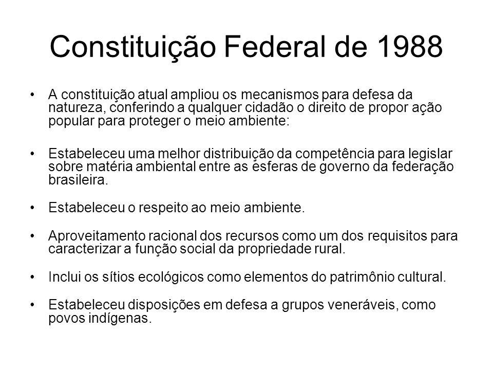 Constituição Federal de 1988 A constituição atual ampliou os mecanismos para defesa da natureza, conferindo a qualquer cidadão o direito de propor açã