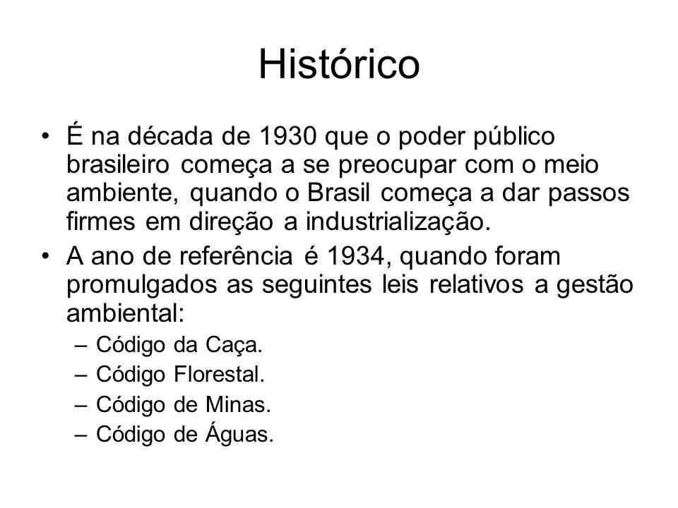 Histórico É na década de 1930 que o poder público brasileiro começa a se preocupar com o meio ambiente, quando o Brasil começa a dar passos firmes em