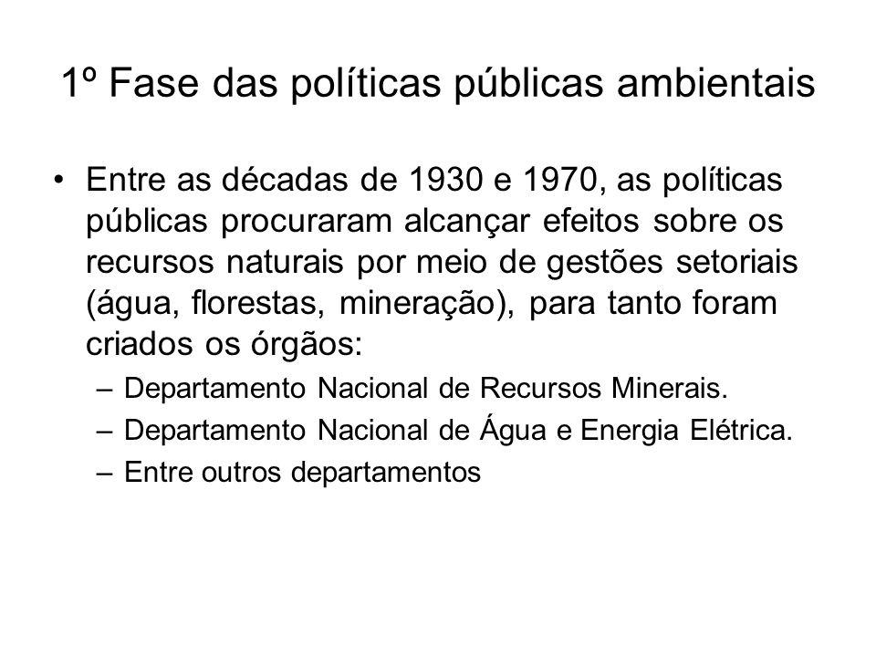 1º Fase das políticas públicas ambientais Entre as décadas de 1930 e 1970, as políticas públicas procuraram alcançar efeitos sobre os recursos naturai