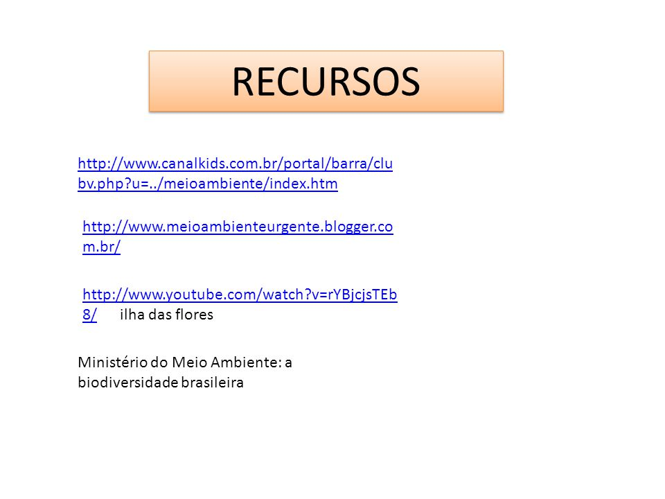 RECURSOS http://www.canalkids.com.br/portal/barra/clu bv.php?u=../meioambiente/index.htm http://www.meioambienteurgente.blogger.co m.br/ http://www.yo