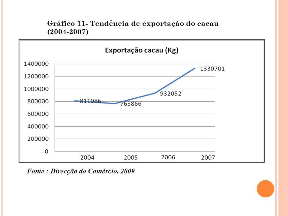 Gráfico 11- Tendência de exportação do cacau (2004-2007) Fonte : Direcção do Comércio, 2009