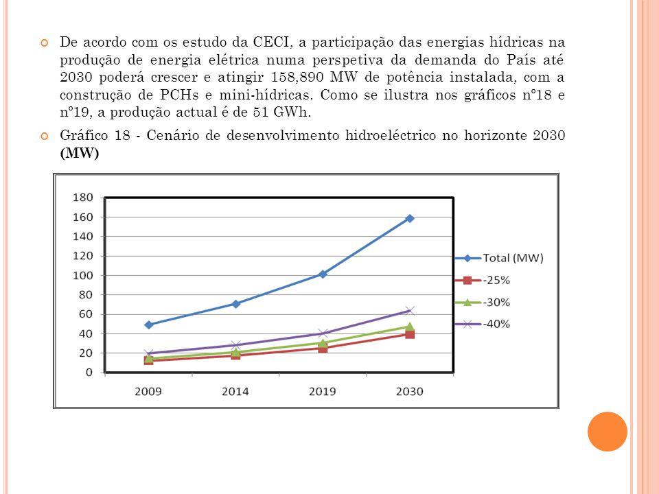 De acordo com os estudo da CECI, a participação das energias hídricas na produção de energia elétrica numa perspetiva da demanda do País até 2030 pode
