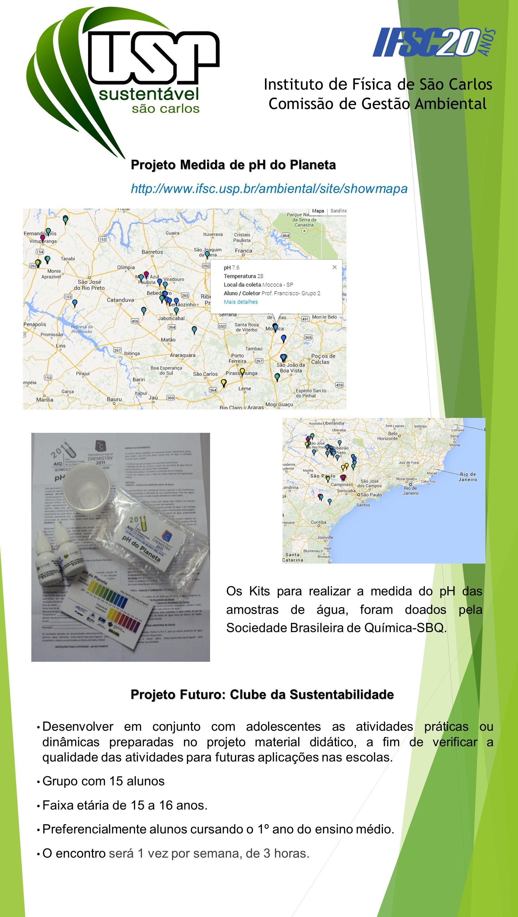 Projeto Medida de pH do Planeta http://www.ifsc.usp.br/ambiental/site/showmapa Instituto de Física de São Carlos Comissão de Gestão Ambiental Os Kits para realizar a medida do pH das amostras de água, foram doados pela Sociedade Brasileira de Química-SBQ.