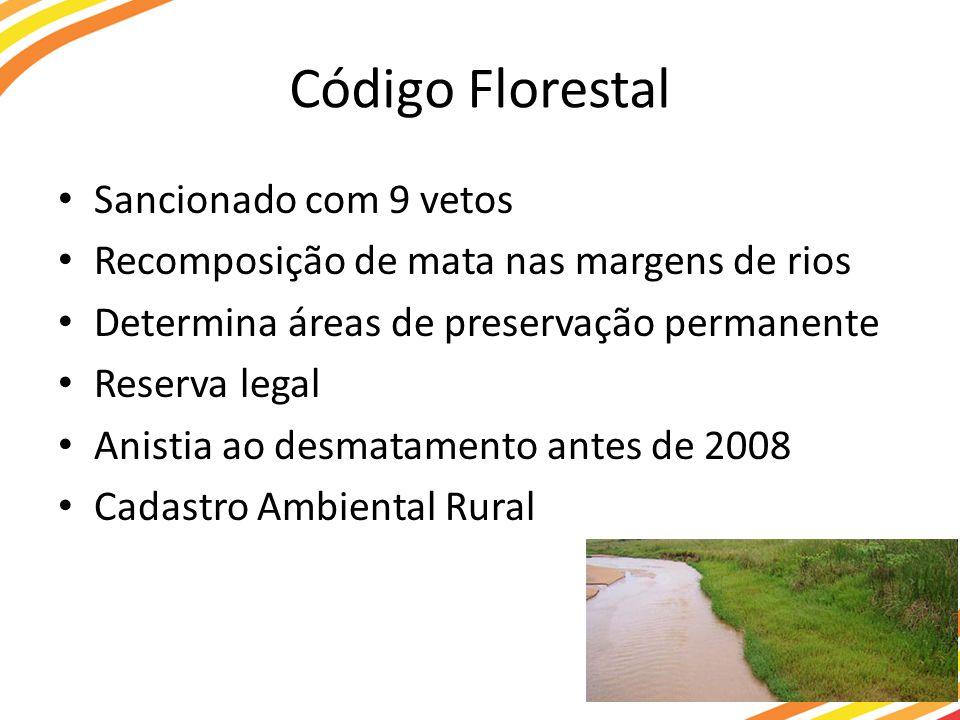 Código Florestal Sancionado com 9 vetos Recomposição de mata nas margens de rios Determina áreas de preservação permanente Reserva legal Anistia ao desmatamento antes de 2008 Cadastro Ambiental Rural