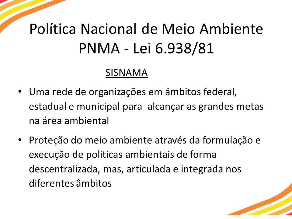 Política Nacional de Meio Ambiente PNMA - Lei 6.938/81 SISNAMA Uma rede de organizações em âmbitos federal, estadual e municipal para alcançar as grandes metas na área ambiental Proteção do meio ambiente através da formulação e execução de politicas ambientais de forma descentralizada, mas, articulada e integrada nos diferentes âmbitos