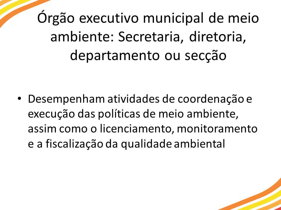Órgão executivo municipal de meio ambiente: Secretaria, diretoria, departamento ou secção Desempenham atividades de coordenação e execução das políticas de meio ambiente, assim como o licenciamento, monitoramento e a fiscalização da qualidade ambiental