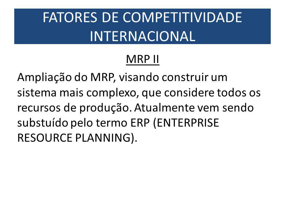 MRP II Ampliação do MRP, visando construir um sistema mais complexo, que considere todos os recursos de produção. Atualmente vem sendo substuído pelo