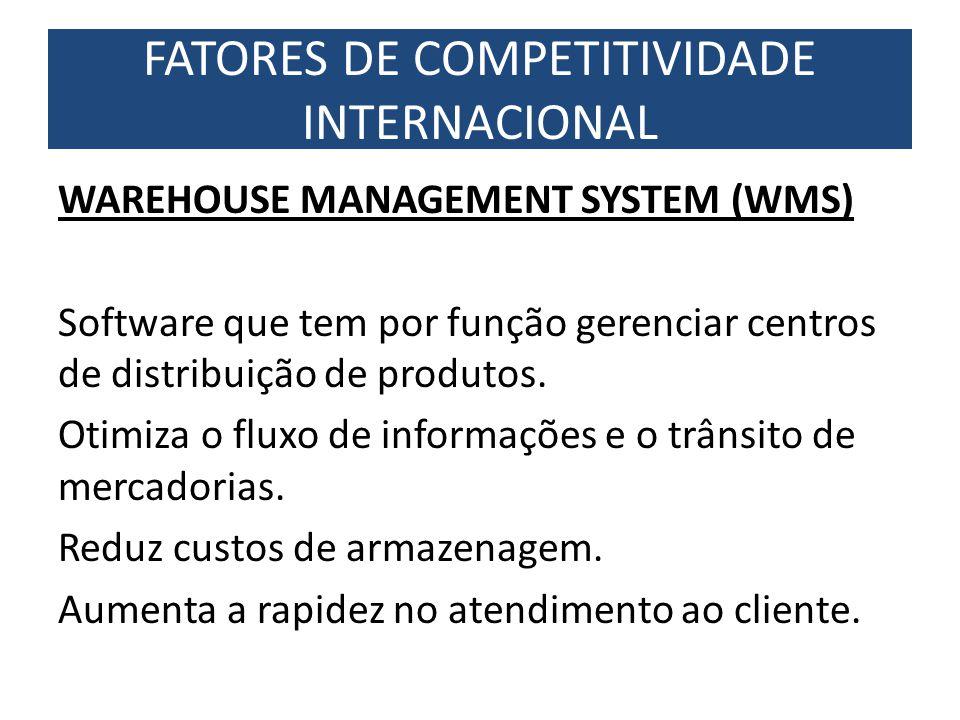 WAREHOUSE MANAGEMENT SYSTEM (WMS) Software que tem por função gerenciar centros de distribuição de produtos. Otimiza o fluxo de informações e o trânsi