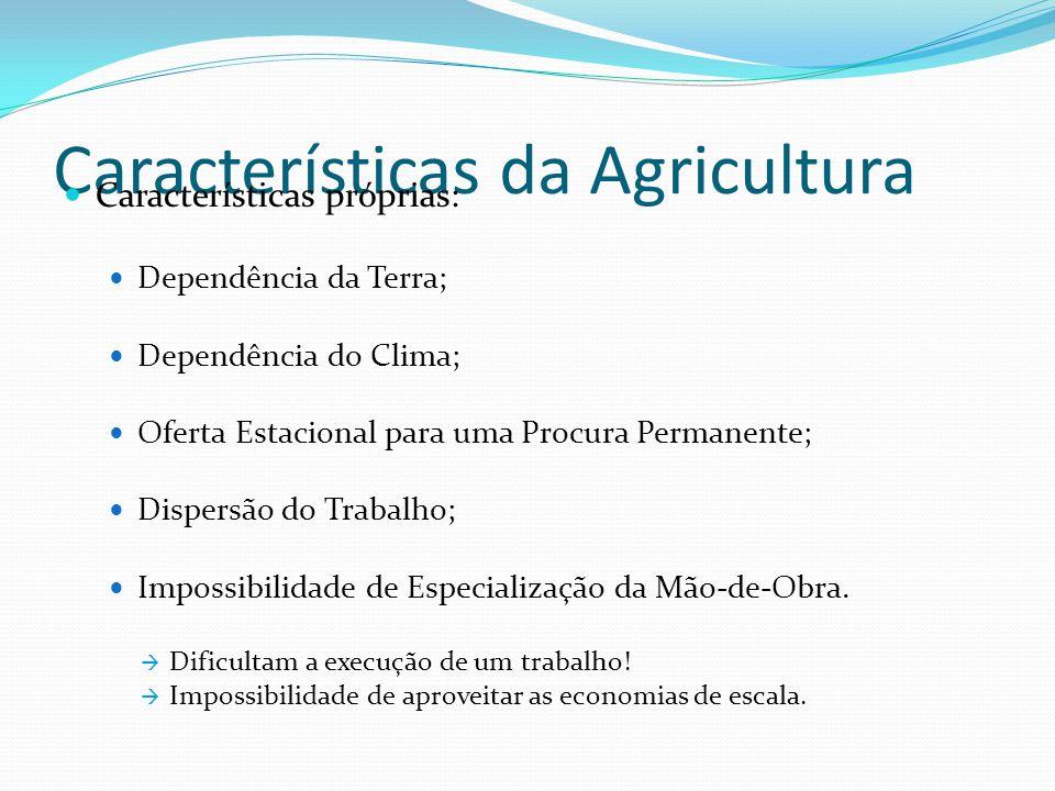 Características da Agricultura Características próprias: Dependência da Terra; Dependência do Clima; Oferta Estacional para uma Procura Permanente; Dispersão do Trabalho; Impossibilidade de Especialização da Mão-de-Obra.