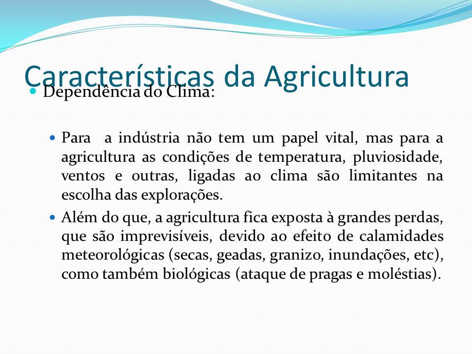 Características da Agricultura Dependência do Clima: Para a indústria não tem um papel vital, mas para a agricultura as condições de temperatura, pluviosidade, ventos e outras, ligadas ao clima são limitantes na escolha das explorações.