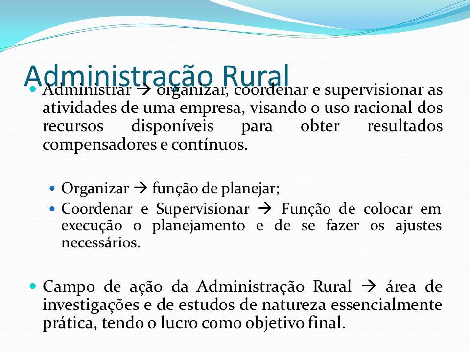 Administração Rural Administrar  organizar, coordenar e supervisionar as atividades de uma empresa, visando o uso racional dos recursos disponíveis para obter resultados compensadores e contínuos.