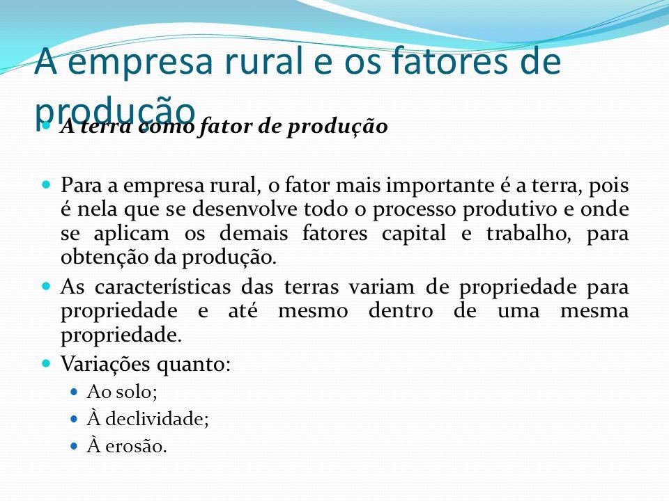 A empresa rural e os fatores de produção A terra como fator de produção Para a empresa rural, o fator mais importante é a terra, pois é nela que se desenvolve todo o processo produtivo e onde se aplicam os demais fatores capital e trabalho, para obtenção da produção.