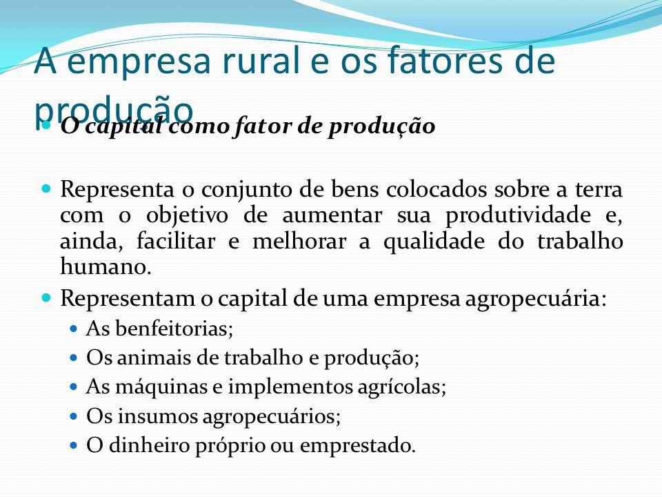 A empresa rural e os fatores de produção O capital como fator de produção Representa o conjunto de bens colocados sobre a terra com o objetivo de aumentar sua produtividade e, ainda, facilitar e melhorar a qualidade do trabalho humano.