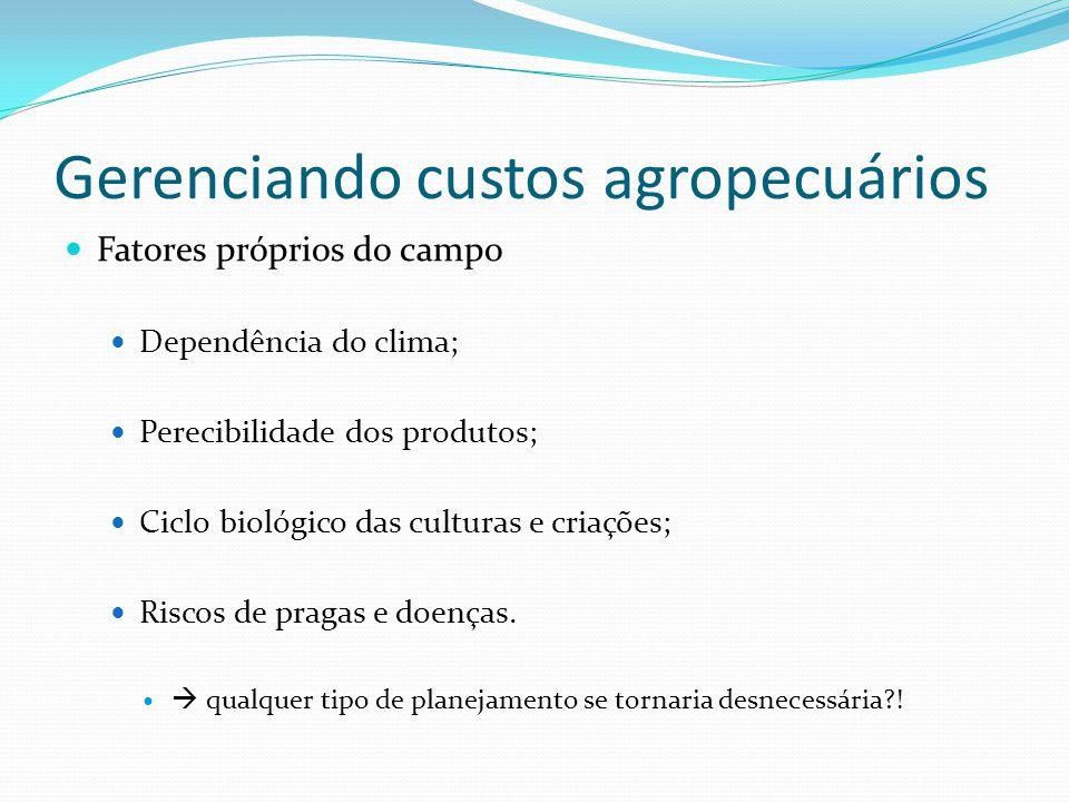 Gerenciando custos agropecuários Fatores próprios do campo Dependência do clima; Perecibilidade dos produtos; Ciclo biológico das culturas e criações; Riscos de pragas e doenças.