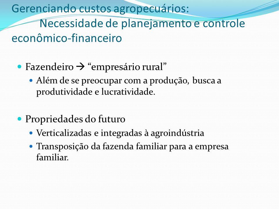 Fazendeiro  empresário rural Além de se preocupar com a produção, busca a produtividade e lucratividade.