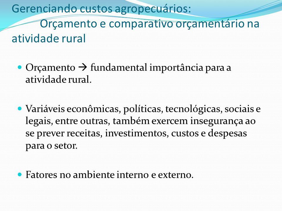 Orçamento  fundamental importância para a atividade rural.