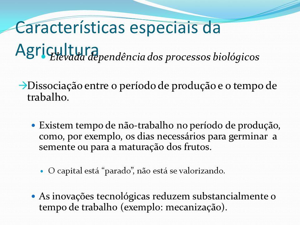 Características especiais da Agricultura Elevada dependência dos processos biológicos  Dissociação entre o período de produção e o tempo de trabalho.