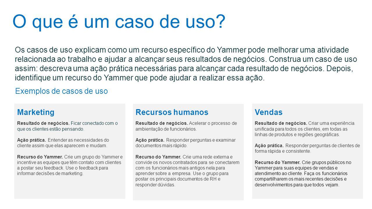O que é um caso de uso? Os casos de uso explicam como um recurso específico do Yammer pode melhorar uma atividade relacionada ao trabalho e ajudar a a
