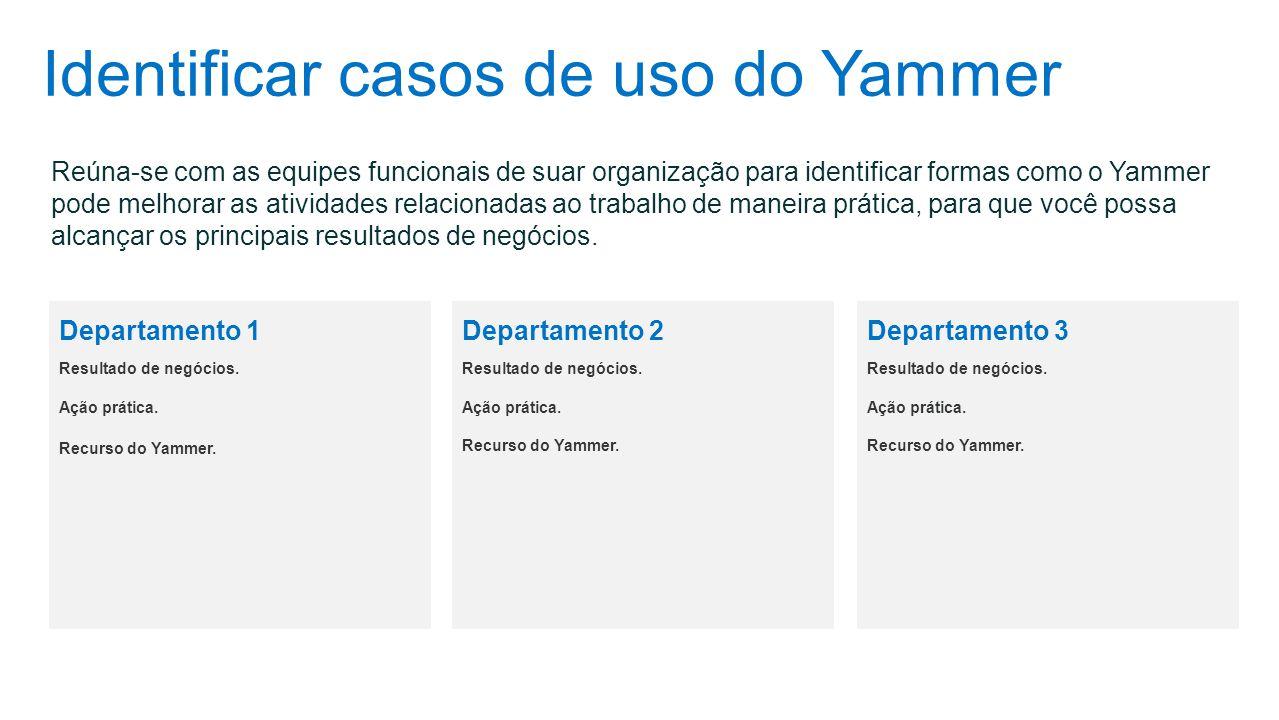 Identificar casos de uso do Yammer Reúna-se com as equipes funcionais de suar organização para identificar formas como o Yammer pode melhorar as ativi
