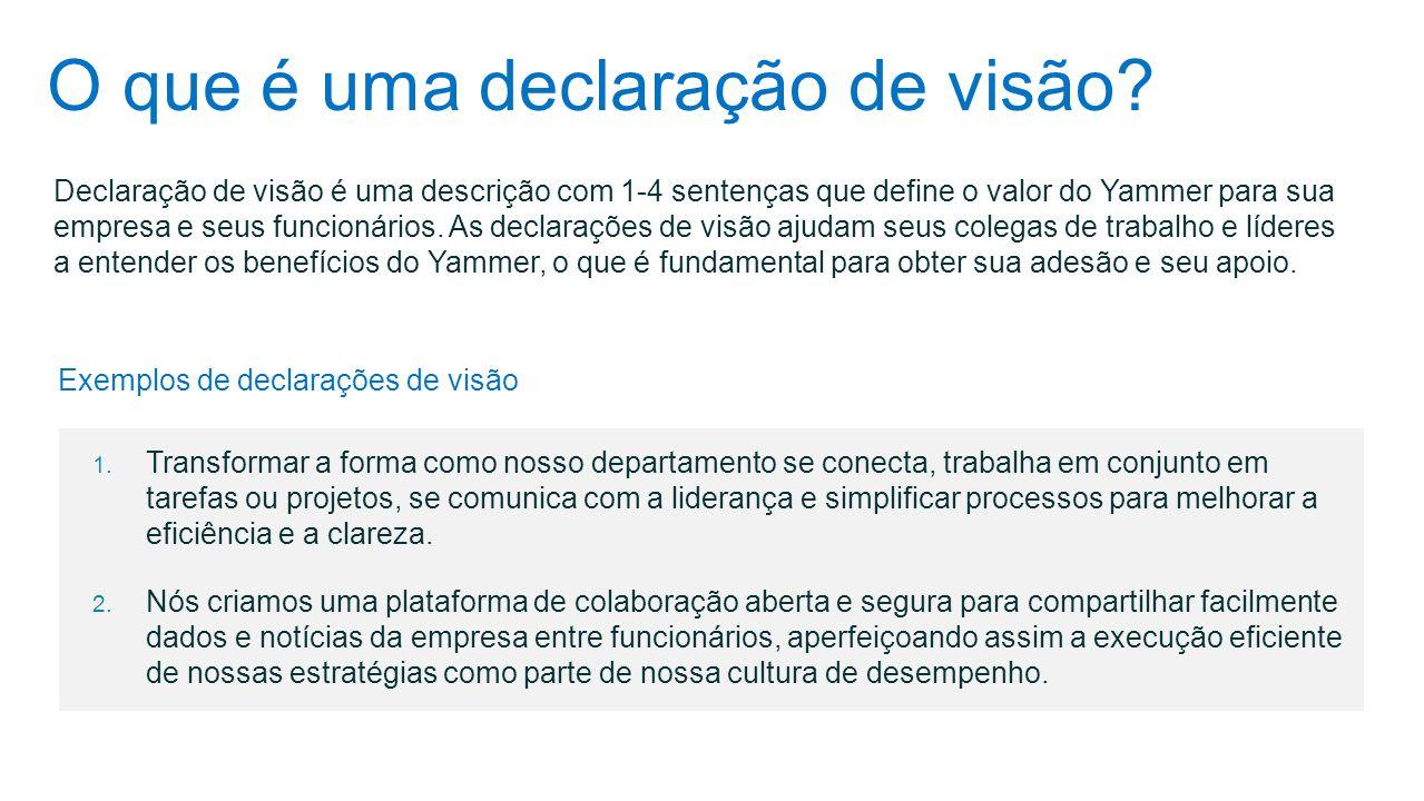 O que é uma declaração de visão? Declaração de visão é uma descrição com 1-4 sentenças que define o valor do Yammer para sua empresa e seus funcionári