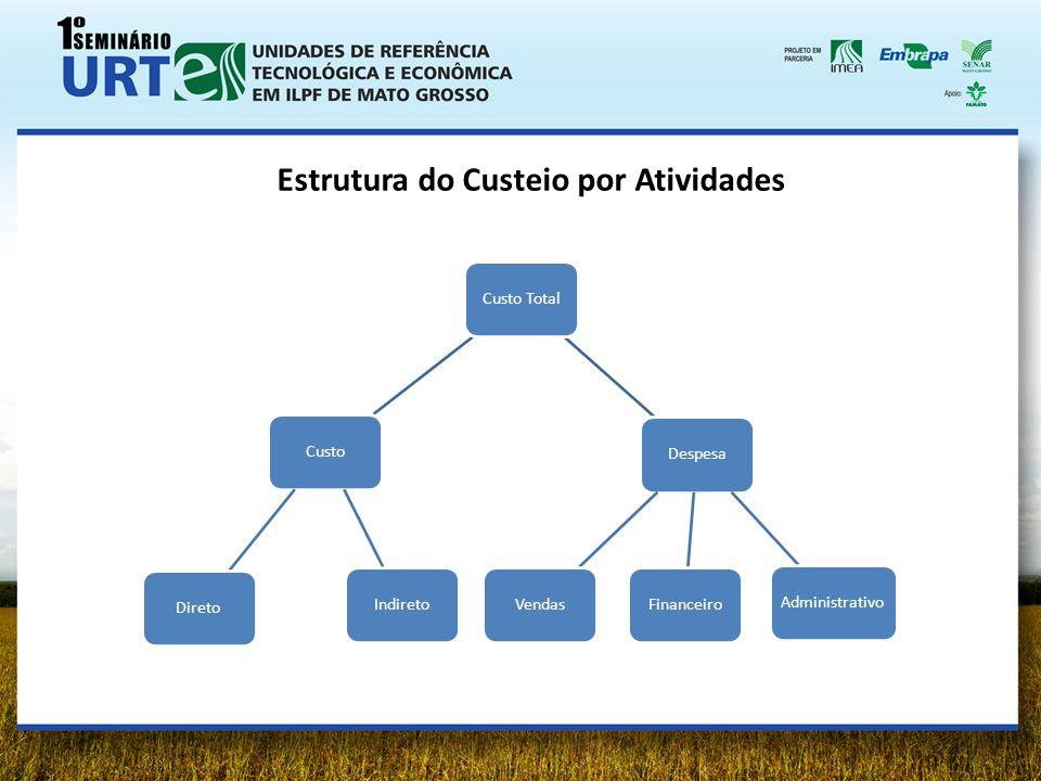 Custo Total CustoDiretoIndiretoDespesaAdministrativoFinanceiroVendas Estrutura do Custeio por Atividades