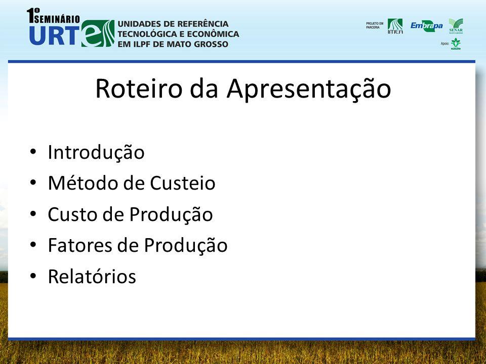 Roteiro da Apresentação Introdução Método de Custeio Custo de Produção Fatores de Produção Relatórios