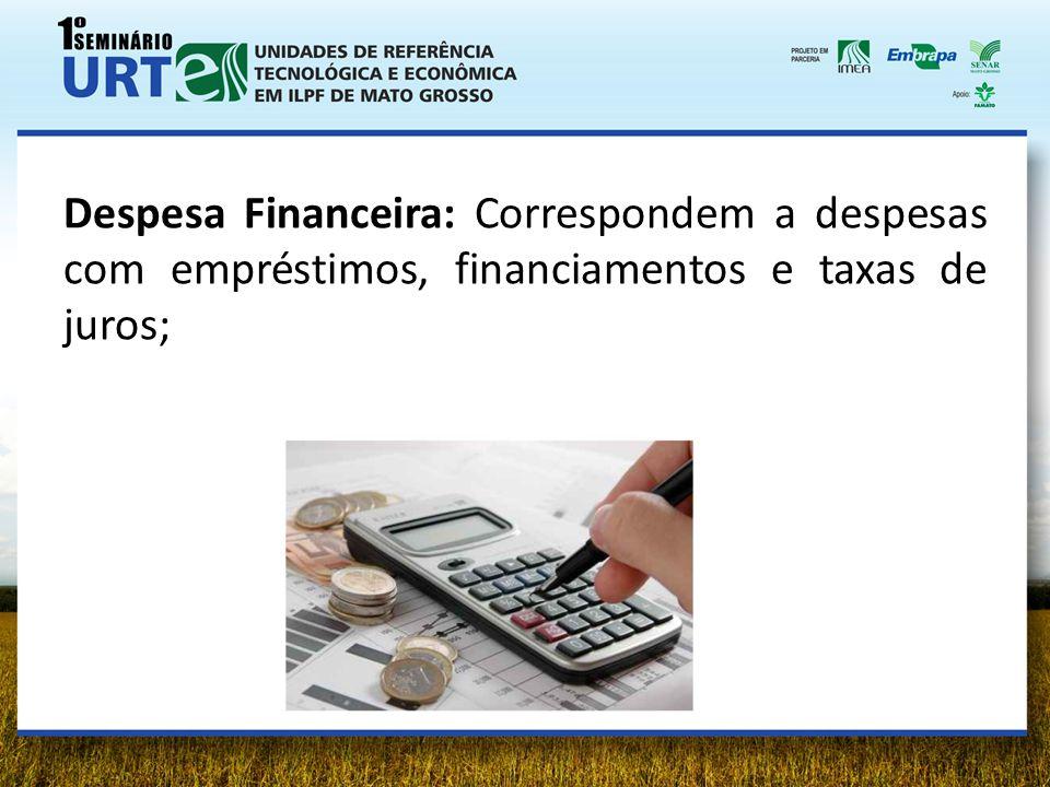 Despesa Financeira: Correspondem a despesas com empréstimos, financiamentos e taxas de juros;