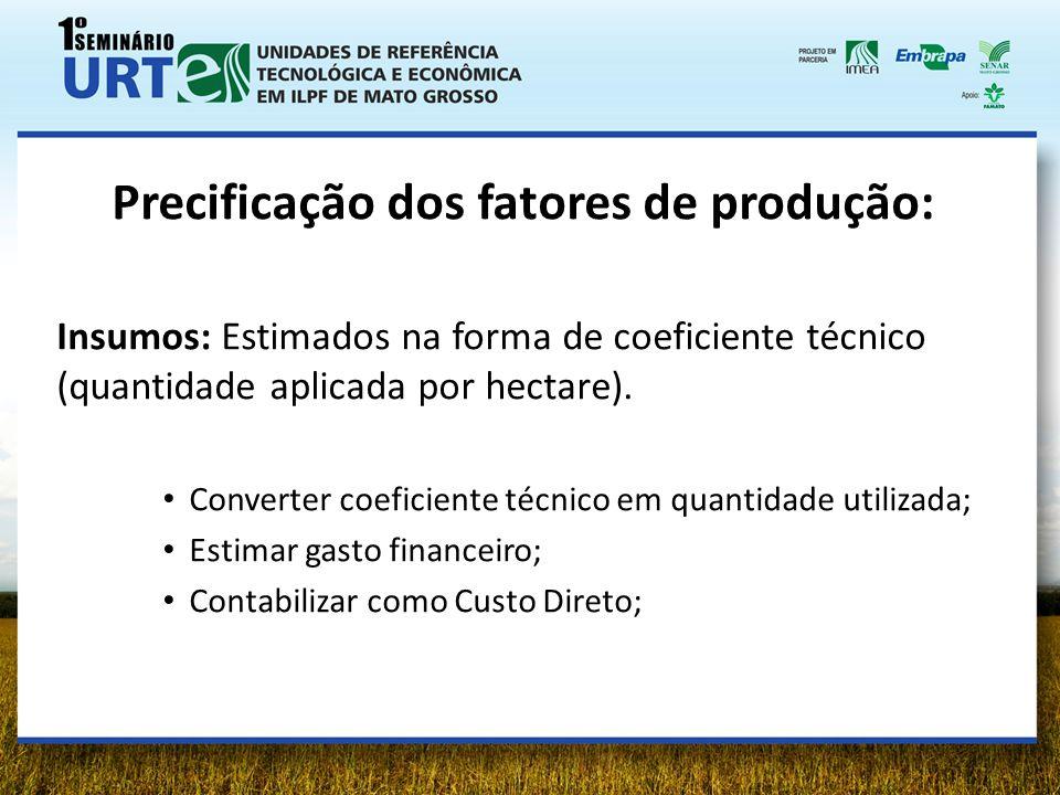 Precificação dos fatores de produção: Insumos: Estimados na forma de coeficiente técnico (quantidade aplicada por hectare). Converter coeficiente técn