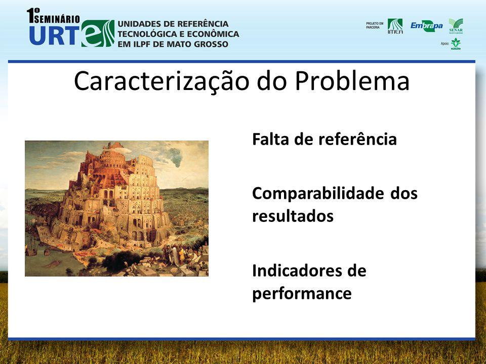 Caracterização do Problema Falta de referência Comparabilidade dos resultados Indicadores de performance