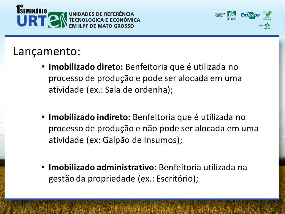Lançamento: Imobilizado direto: Benfeitoria que é utilizada no processo de produção e pode ser alocada em uma atividade (ex.: Sala de ordenha); Imobil