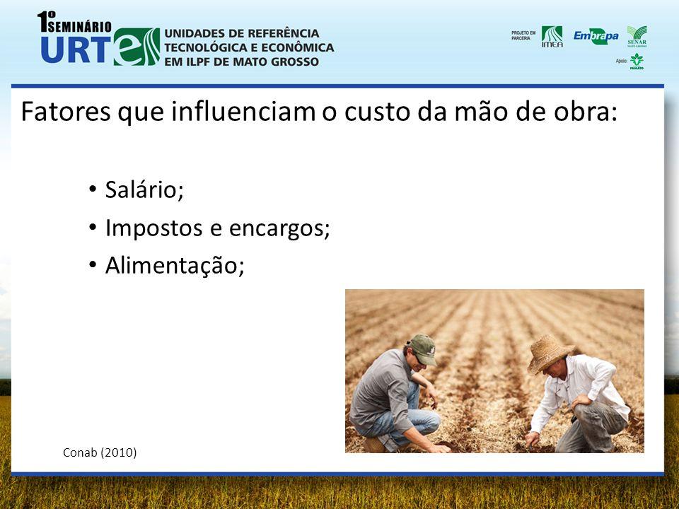 Fatores que influenciam o custo da mão de obra: Salário; Impostos e encargos; Alimentação; Conab (2010)
