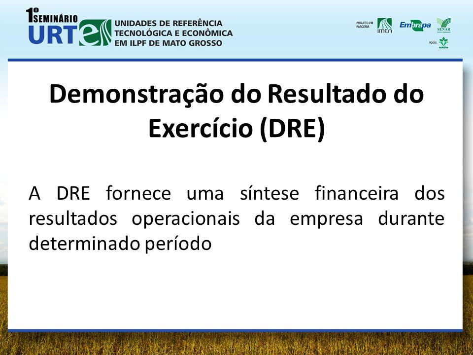 Demonstração do Resultado do Exercício (DRE) A DRE fornece uma síntese financeira dos resultados operacionais da empresa durante determinado período