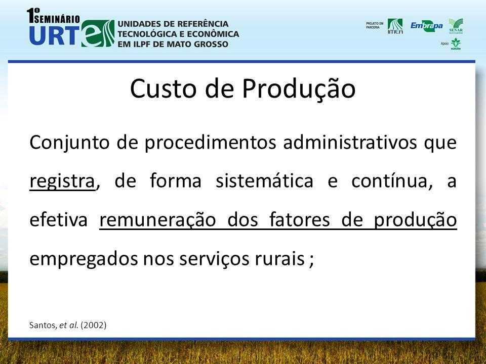 Custo de Produção Conjunto de procedimentos administrativos que registra, de forma sistemática e contínua, a efetiva remuneração dos fatores de produç