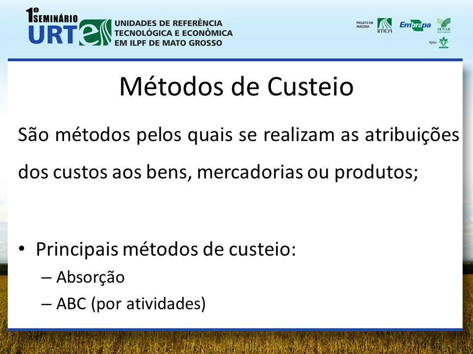 Métodos de Custeio São métodos pelos quais se realizam as atribuições dos custos aos bens, mercadorias ou produtos; Principais métodos de custeio: – A