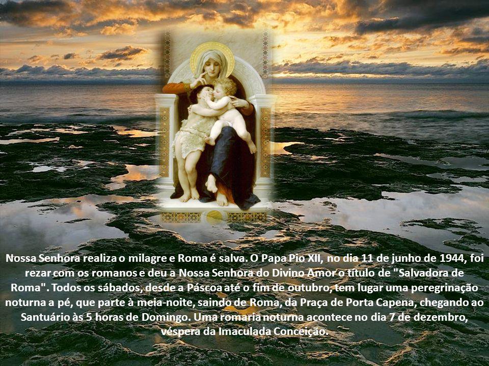 Em 1944, Roma corria o perigo de ser destruída por causa da guerra. No dia 24 de janeiro o quadro da Virgem foi transferido para a cidade. Esteve em v