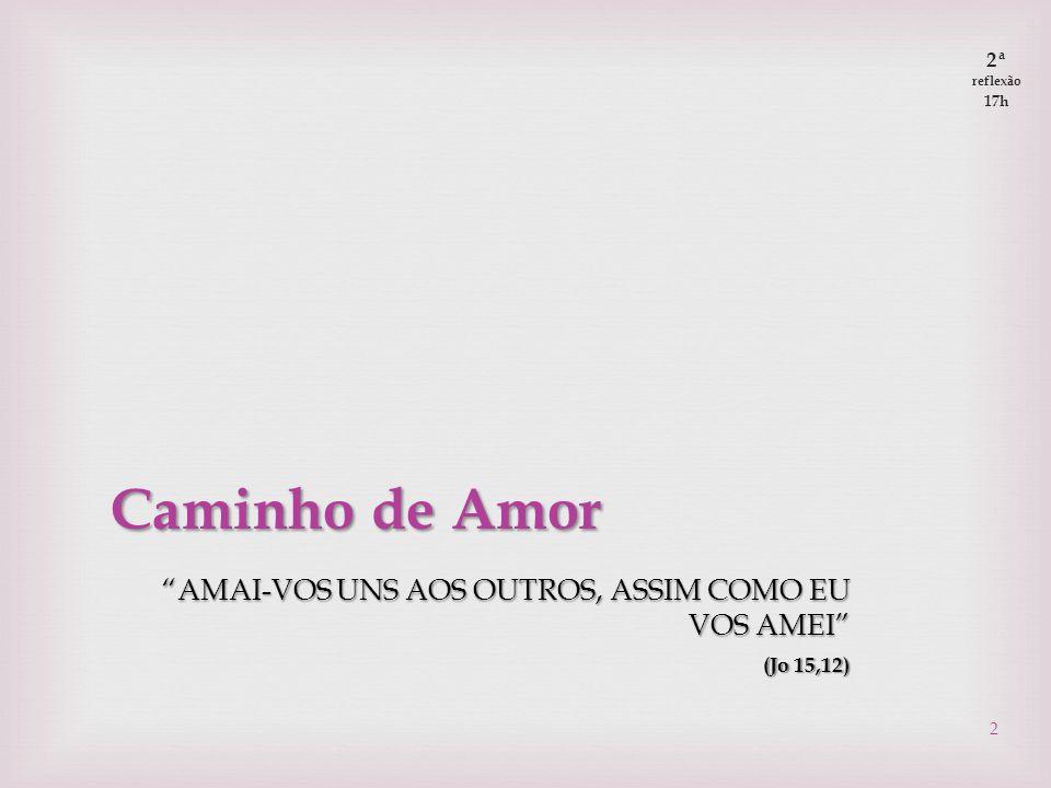  Caminhos de Amor Pessoal, familiar, comunitário  Amor a DEUS:  Que provas de amor eu/nós ofereço/oferecemos a DEUS.