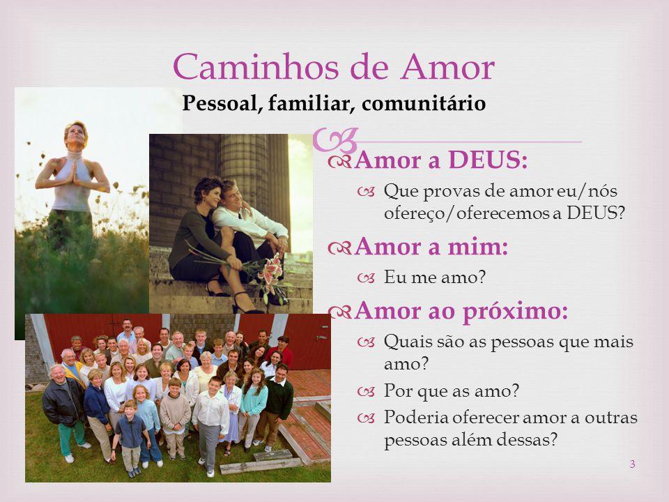 Caminhos de Amor Pessoal, familiar, comunitário  Amor a DEUS:  Que provas de amor eu/nós ofereço/oferecemos a DEUS?  Amor a mim:  Eu me amo?  A