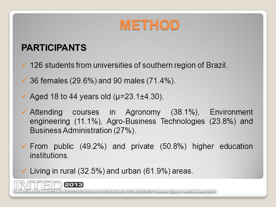METHOD PARTICIPANTS 126 students from universities of southern region of Brazil.
