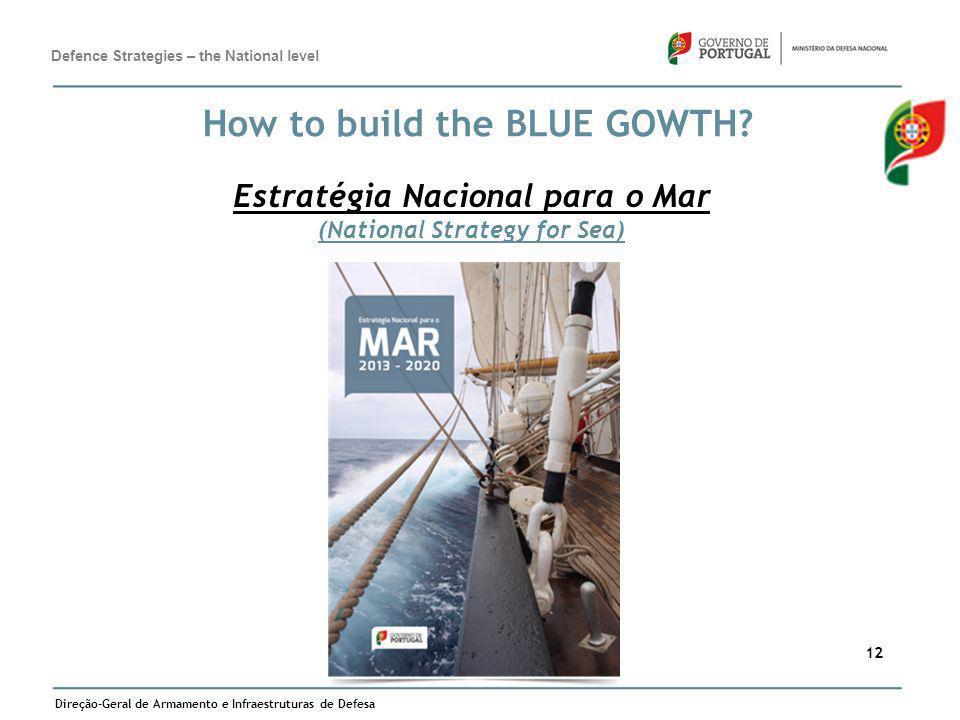 Direção-Geral de Armamento e Infraestruturas de Defesa 12 How to build the BLUE GOWTH? Estratégia Nacional para o Mar (National Strategy for Sea) Defe