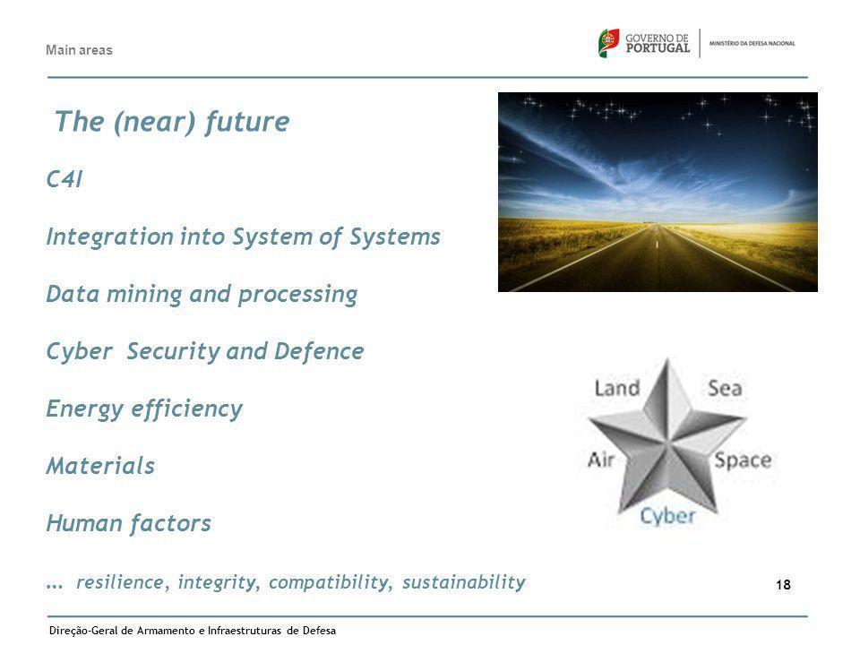 Direção-Geral de Armamento e Infraestruturas de Defesa 18 Main areas The (near) future C4I Integration into System of Systems Data mining and processi