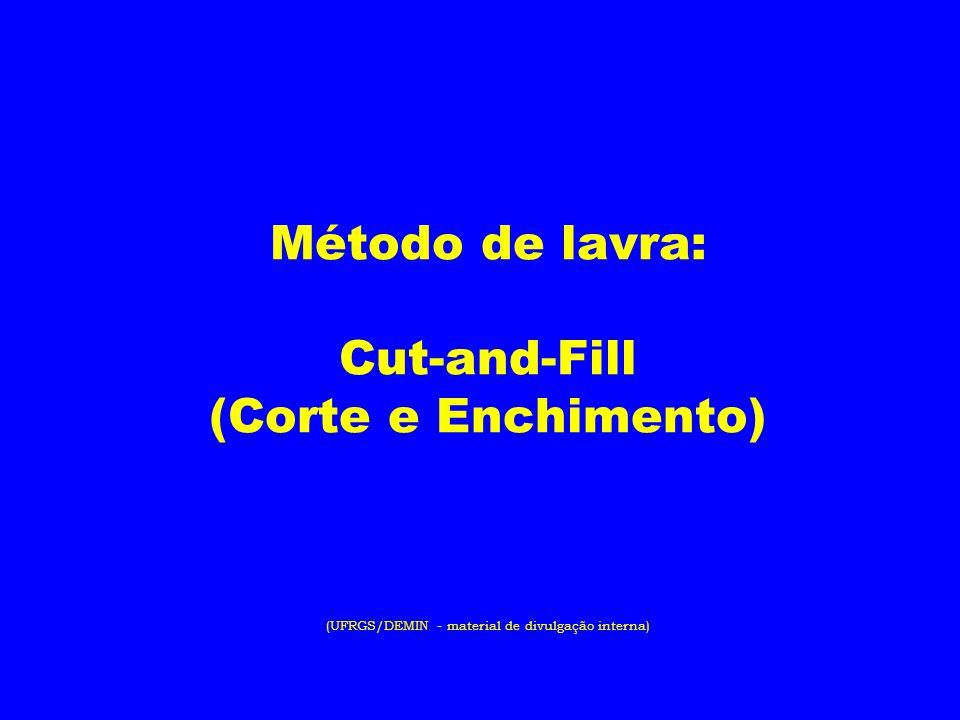 Método de lavra: Cut-and-Fill (Corte e Enchimento) (UFRGS/DEMIN - material de divulgação interna)