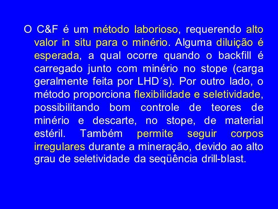 O C&F é um método laborioso, requerendo alto valor in situ para o minério. Alguma diluição é esperada, a qual ocorre quando o backfill é carregado jun