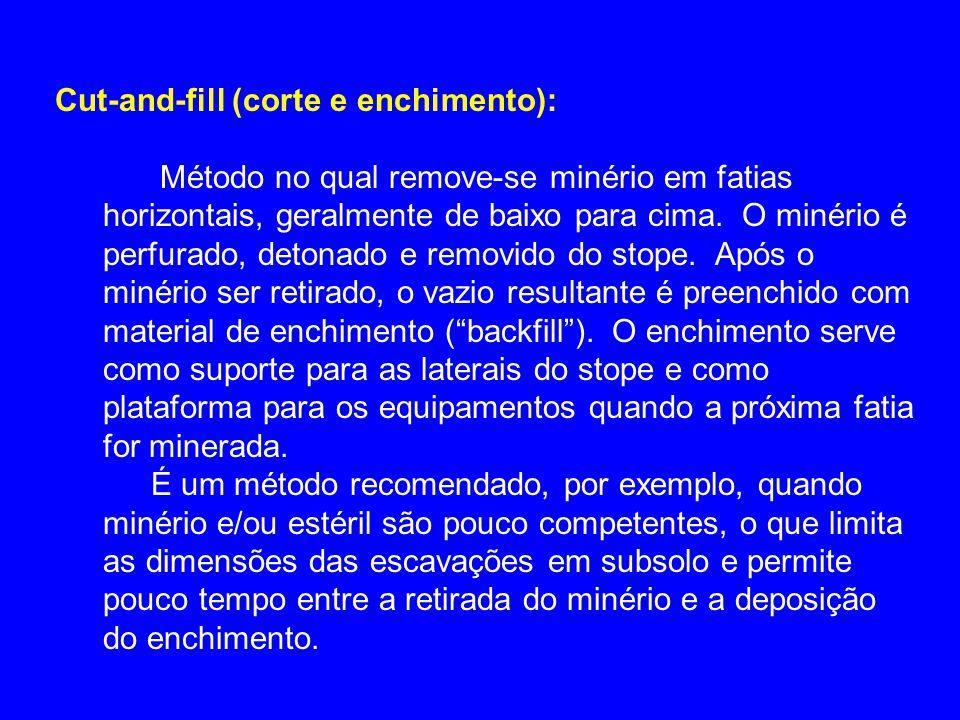 Cut-and-fill (corte e enchimento): Método no qual remove-se minério em fatias horizontais, geralmente de baixo para cima. O minério é perfurado, deton