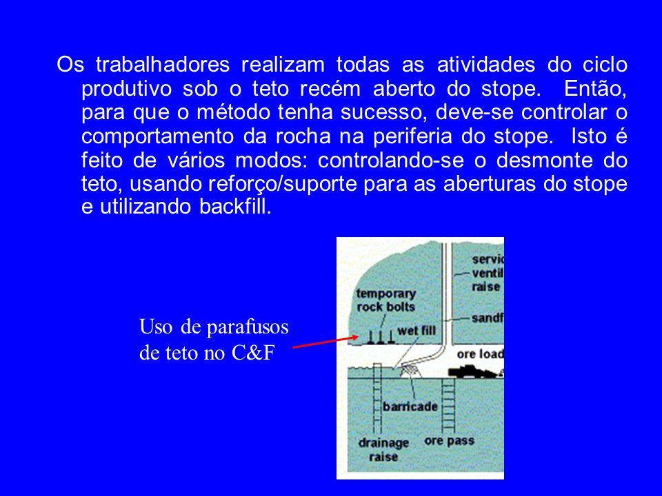 Os trabalhadores realizam todas as atividades do ciclo produtivo sob o teto recém aberto do stope. Então, para que o método tenha sucesso, deve-se con