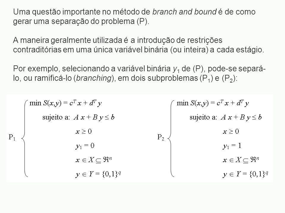 Uma questão importante no método de branch and bound é de como gerar uma separação do problema (P). A maneira geralmente utilizada é a introdução de r