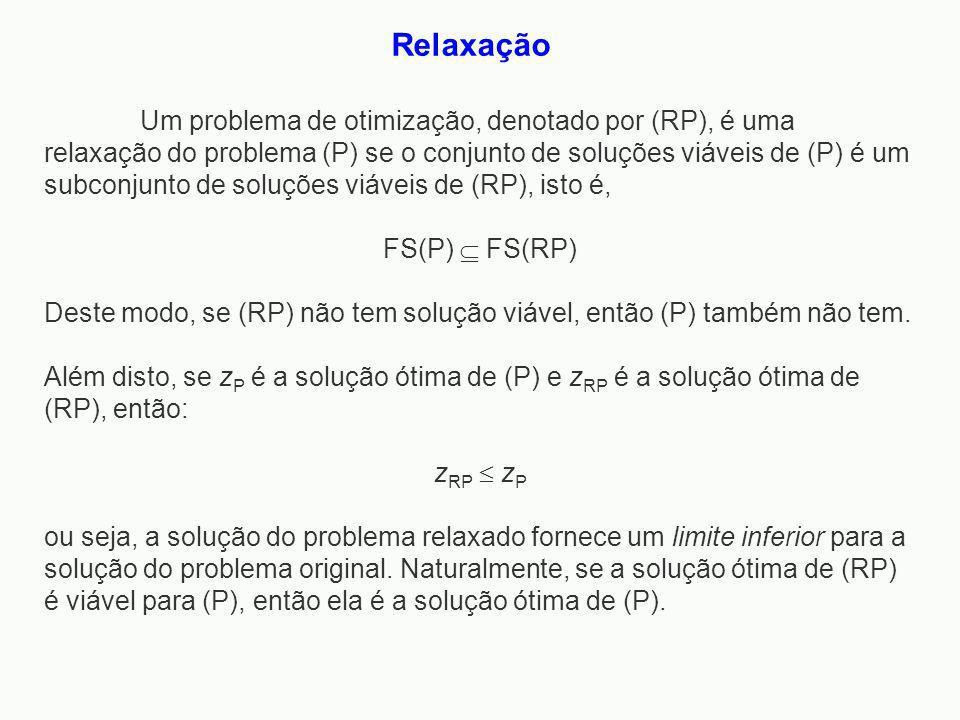 Um problema de otimização, denotado por (RP), é uma relaxação do problema (P) se o conjunto de soluções viáveis de (P) é um subconjunto de soluções vi